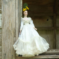 Porcelain Bride Doll in Wedding Gown, Great to Repurpose or Restore, Pretty White Bridal Gown Satin and Lace , Annie Lennox