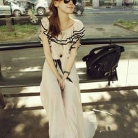 Summer Girl Ruffled Short Sleeve Chiffon Maxi Dress