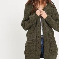 late at night open front cable knit cardigan sweater - olive