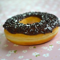 Chocolate Frosted with Chocolate Sprinkles Doughnut Magnet, Polymer Clay Mini Food