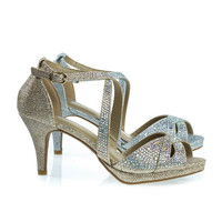 Excited90 Champagne By Delicacy, Sparkling Rhinestone & Mesh Glitter Sandal, Platform & High Heel