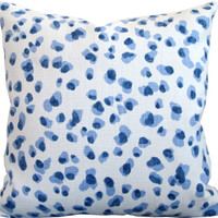 Blue Animal Spots-Designer Decorative Pillow Cover-Robert Allen-Sofa Pillow-Single Sided or Double Sided