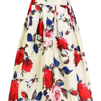 White High-Rise Waist Floral Print Skirt