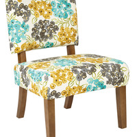 Ave Six Jasmine Accent Chair in Luxury Floral Pool Fabric with Medium Grey Finish Legs