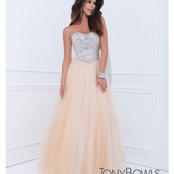 (PRE-ORDER) Tony Bowls 2014 Prom Dresses - Champagne Embellished Strapless Sweetheart Mesh Gown