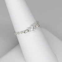 Tiny silver and cubic zirconia chain ring by petite simone from simone bijoux.  delicate chain ring,  bezeb set cz and sterling silver ring
