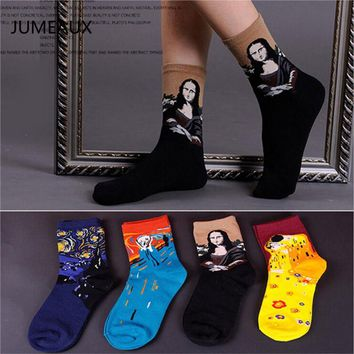 JUMEAUX 4 Pairs/Lot New Style Europe Retro Abstract Oil Paiting Women Men Middle Tube Socks Cotton Socks Clothing Accessories