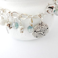 Silver Sand Dollar Anklet, Beach Jewelry, Blue and White Ankle Bracelet