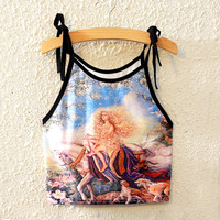 Sexy Beach Stylish Hot Bralette Comfortable Summer Print Crop Top Spaghetti Strap Sleeveless Vest [6267555462]