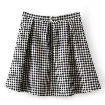 Plaid Pleated Empire Skir