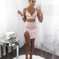 Patent Leather Mini Two Piece  Dresses