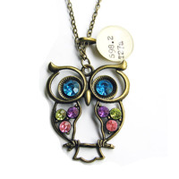 Large Rhinestone Owl in Spring Colors with Dewey Decimal Charm Library Necklace LIMITED EDITION