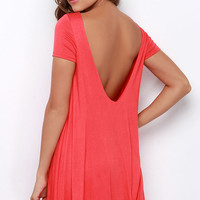 Thank You V Much Coral Red Backless Swing Dress