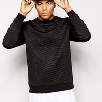 ASOS Sweatshirt With Quilted Fabric at asos.com