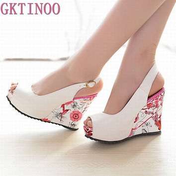 2017 new wedge sandals shoes women high heels shoes open toe platform buckle women summer shoes 4 colors big size 33-41