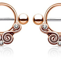 Lace Swirls Clear Gems Tribal Nipple Shields Rings Barbell Barbells 14g 316L Stainless Steel - Sold as a Pair (Rose Gold Tone)