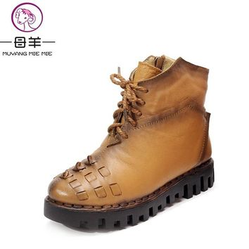 2017 Winter Ankle Boots Genuine Leather Platform Flat Snow Boots Women Warm Shoes Woman Casual Motorcycle Boots Women Boots