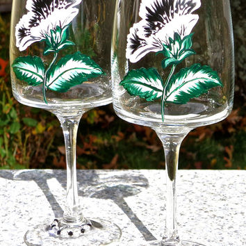 Hand Painted Wine Glasses With Black And White Flowers And Crystal Wine Glass Charms