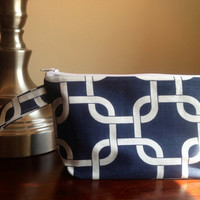 Make up cosmetic bag zipper pouch clutch  navy by BlueBearDesigns