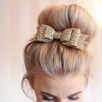 Girl's Big Glitter Hair Bow