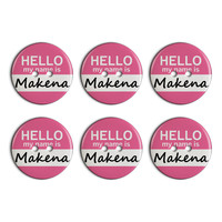 Makena Hello My Name Is Plastic Resin Button Set of 6