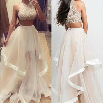 2015 Sexy hot Champagne Two Piece Prom Dresses Women Long Evening Party Dress [9305607047]
