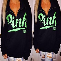 """Pink"" Victoria's Secret Print Zipper V-Neck Top Sweater Pullover Sweatshirt"