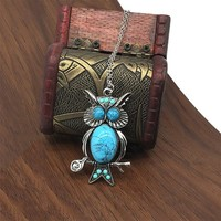 Turquise Owl Pendant Necklace with Super Long Chain