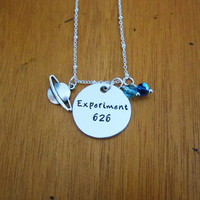 Experiment 626 necklace. Alien, outer space, stitch necklace. Silver colored. Swarovski Elements crystals. Hand stamped.