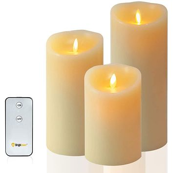 Flameless Candles Battery Operated, LED Pillar Real Wax Flickering Candle with Remote and Timer, 3.5-inch by 5-inch Ivory Candle for Birthday Party & Christmas Decoration (579 inch)