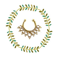 Tribal Jeweled Gold Nose Ring, Boho Clip On Septum Piercing