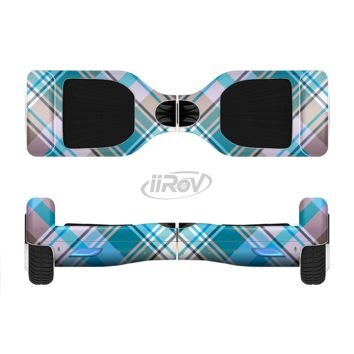 The Gray & Bright Blue Plaid Layered Pattern V5 Full Body Skin Set for the Smart Drifting SuperCharged Transportation iiRov
