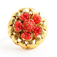 Vintage Red Stone Adjustable Ring - Gold Tone Chunky Cocktail Costume Jewelry / Beaded Flower