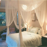 Bed Mosquito Net Mesh Canopy Queen Bed 4 Corner Post Net Polyester Home Textile White
