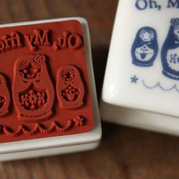 Ceramic Rubber Stamp with a free ink pad - Russian Doll (Matryoshka Doll )