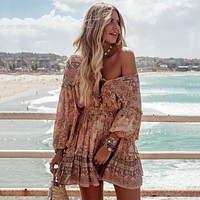 Frill Ruffle Boho Dress Gypsy Print Mini Dresses V-Neck Long Sleeve Beach Playdress Womens Clothing Female Vestidos