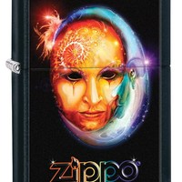 Beautiful Artsy Zippo Moon Beam Mask Black Matte Windproof  Lighter