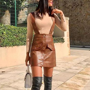Single-Breasted Pinafore Faux Leather Strap Skirts Womens High Waist Mini Brown Skirt Vintage Suspender Skirt