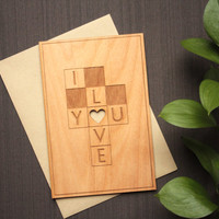 Love Wood Card - Wedding Anniversary Greeting Card - Crossword Puzzle