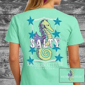 Southern Attitude Preppy Salty Seahorse Mint T-Shirt