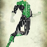 Green Lantern Inspired The Justice League Typographic Print and Poster