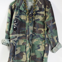 Vintage Military Jacket 70s Camo Army Issued Button Down Shirt All Sizes