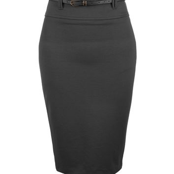 Fitted High Waisted Midi Skirt with Faux Leather Belt (CLEARANCE)