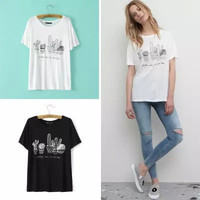 Cactus Print And Letter Embroidery Short-Sleeve Shirt