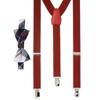 Wembley Hill Stead Plaid Bow Tie & Suspender Set -Men, Size: One Size (Red)