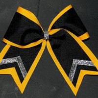Black, Yellow, and Silver Cheer Bow
