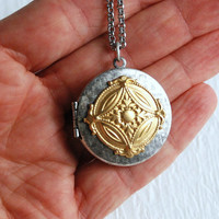 Silver and Gold Medallion locket necklace, vintage renaissance pendant photo message birthday anniversary mother sister Christmas gift