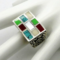 Vintage Sterling Silver Turquoise Coral MOP Statement Ring, Size 6.5