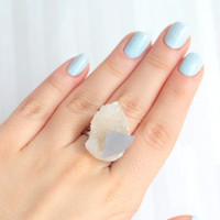 OOAK Quartz Celestite Druzy Ring, Raw Stone Mineral Crystal