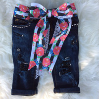 Sparkle Skinny Distressed Jean~Girls Distressed  Jeans~Baby~Toddler~Ripped Jeans~Baby Girl Denim~Toddler Girl Denim~Trendy Kids~Bling Jeans